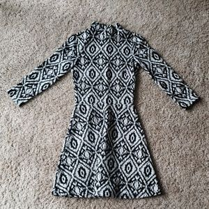 Patterned high neck long sleeve dress